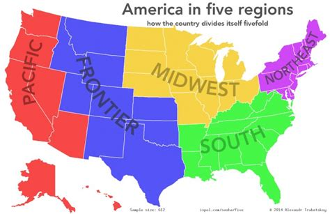 us map showing regions dividing the united states into 5 regions based on popular