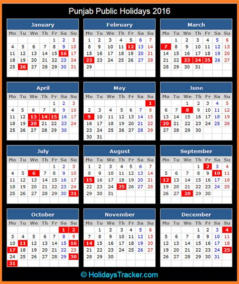 new year 2015 government schedule punjab india holidays 2016 holidays tracker