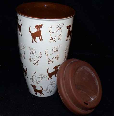 10 12 Ounce Coffee Mugs Ceramic - coldwater creek brown dogs ceramic silicone lid travel
