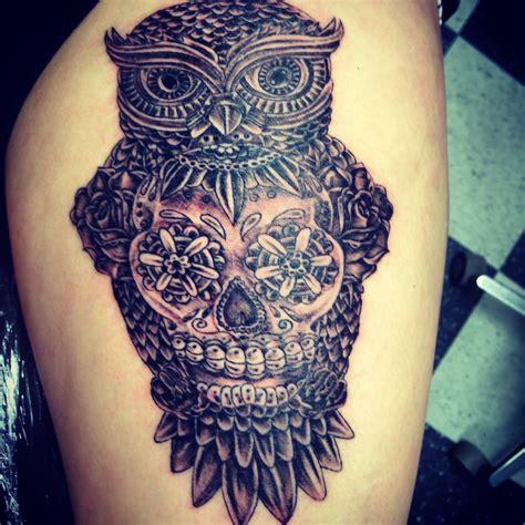 sugar skull thigh tattoos owl and sugar skull thigh tattoos beautiful