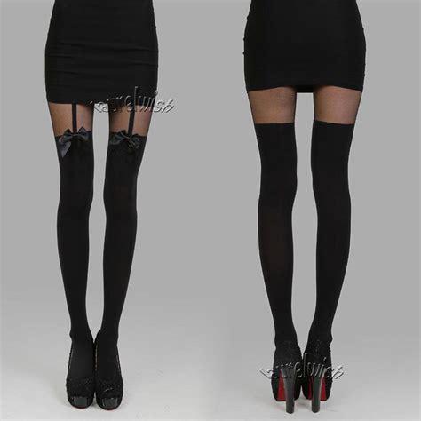 garter nylons garter suspender tights bowknot mock