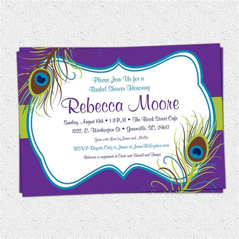 Peacock Feather Invitations Bridal Shower Baby Shower Birthday Or Engagement Party Elegant Peacock Bridal Shower Invitations Templates
