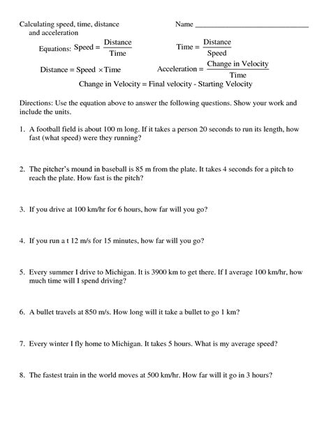 Speed Worksheet With Answers by 10 Best Images Of Distance Formula Worksheet Graph