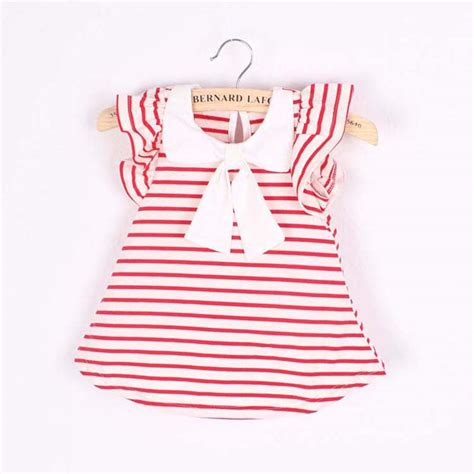 Baby Dress Cotton 1 fashion baby dress summer cotton striped bow dress infant clothing 1 year
