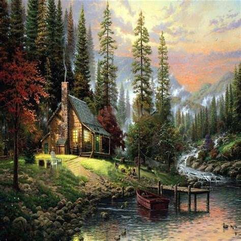in the paint 40x50cm frameless the cabin in the woods linen canvas