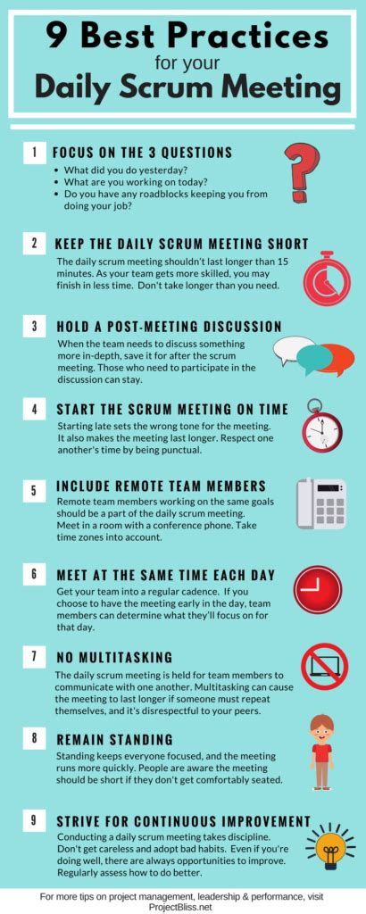 9 Best Practices For Your Daily Scrum Meeting Project Bliss Scrum Meeting Template