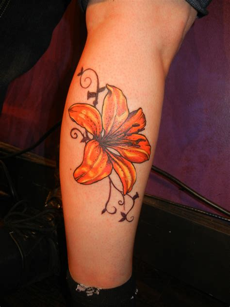 tiger lily tattoo flower design idea for and