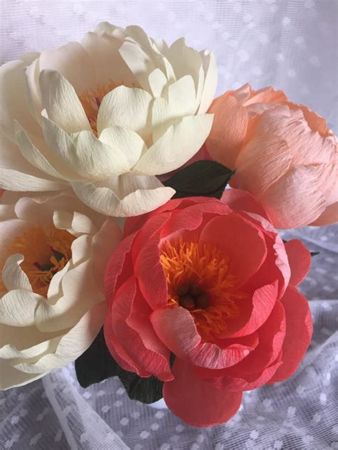 crepe paper flower coral charm peony handmade 2448349