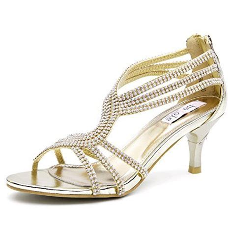 Gold Bridal Sandals by 35 Shoezy Womens Metallic Low Heels Rhinestones Evening