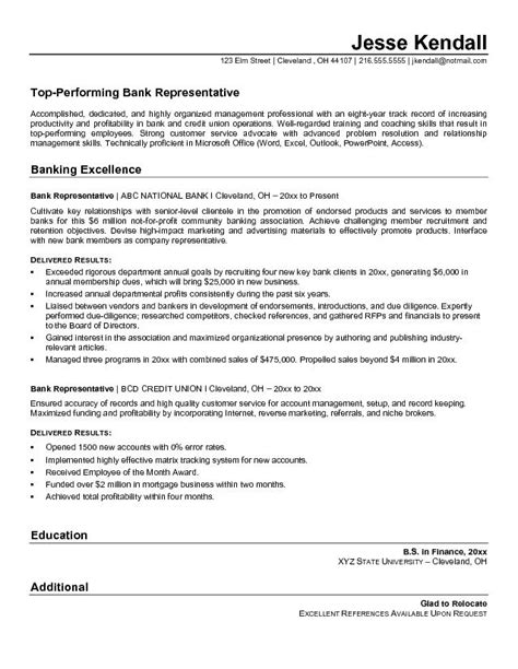 Bank Customer Service Representative Sle Resume exle bank representative resume free sle