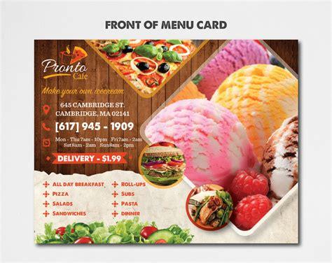 Parlour Menu Card Designs