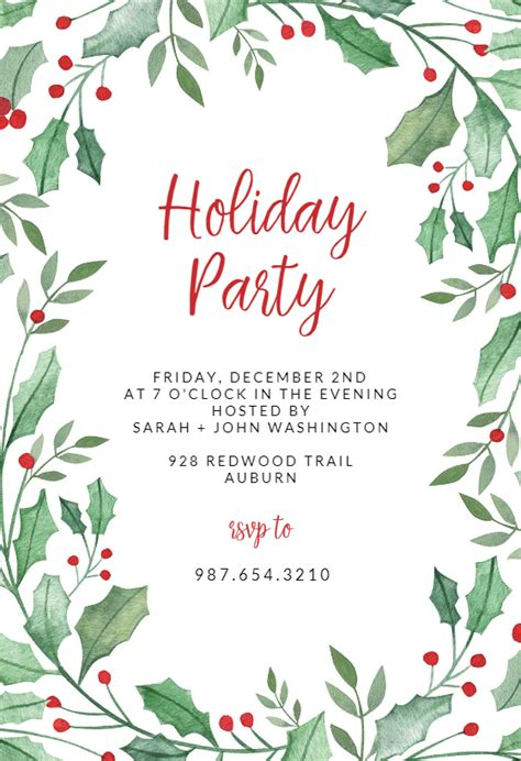 Christmas Party Invite Template Free Online