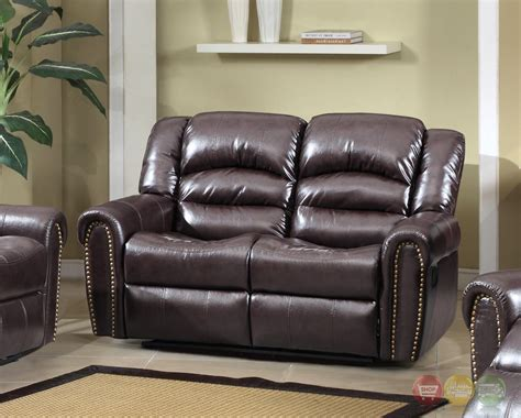 leather reclining sofa with nailhead trim 684 brown leather reclining loveseat with nailhead trim