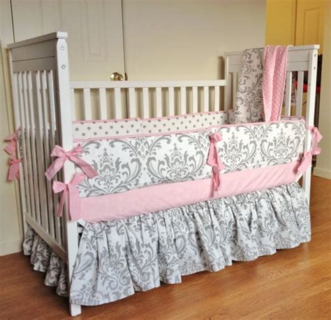 Gray And Pink Crib Bedding Sets Impressive Crib Bedding Ba Bedding Set Pink Gray Damask Made To In Baby Bedding Sets