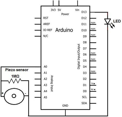 how to build a piezo knock sensor circuit use arduino