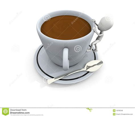 big coffee 3d character and big coffee cup royalty free stock image image 18785346