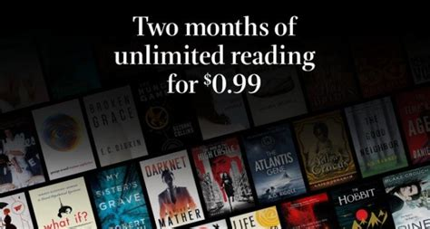 unlimited reading of 1 million ebooks for 0 99 two