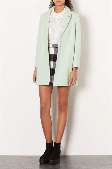 topshop swing coat topshop textured swing coat in green lyst