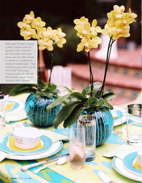 design blooms lulu powers and lonny high street market yellow turquoise tablescape