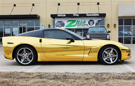 chrome gold gold chrome wrap corvette fort worth zilla wraps