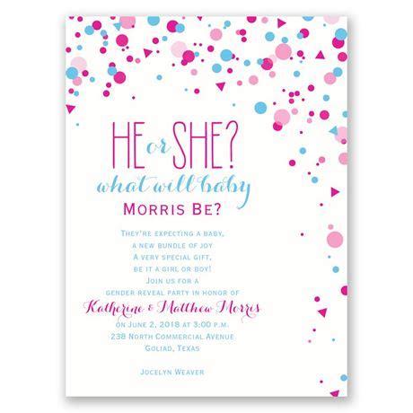 Gender Reveal Baby Shower Invitation Wording by Pretty Confetti Gender Reveal Invitation