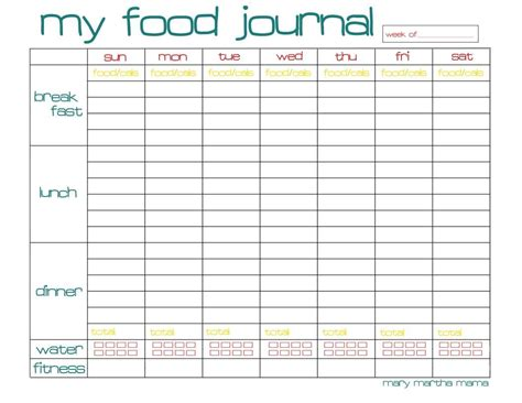 sle food diary template food journal printable for week weight loss