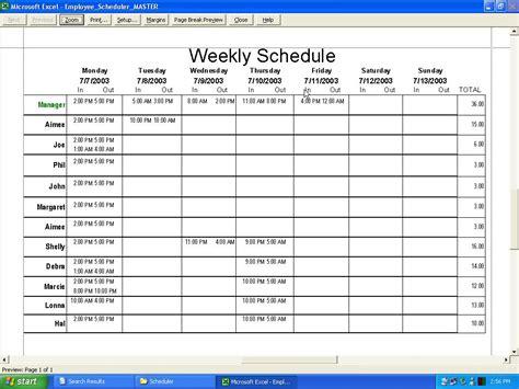 weekly calendar excel template week schedule excel template