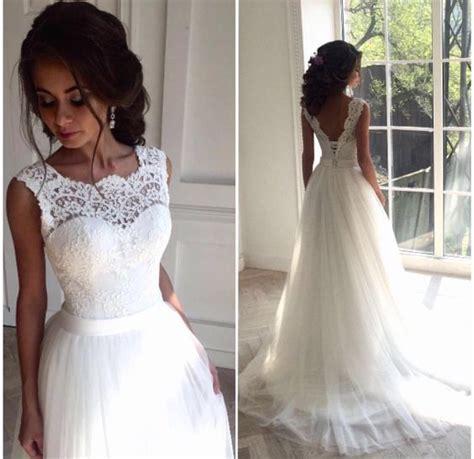 Hochzeitskleid Mit Spitze by H1228 Simple Lace Bodice Tulle Bottom A Line Wedding Dress