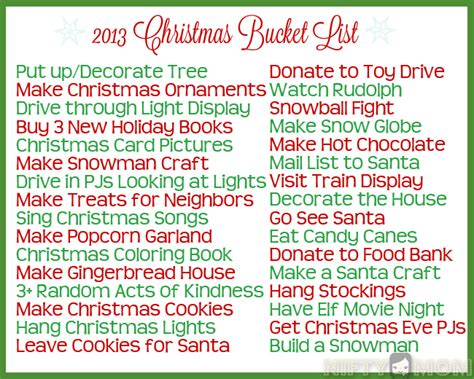 christmas themes list christmas bucket list ideas with printable christmas
