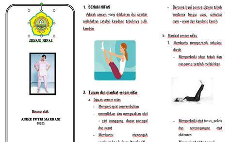 Baju Senam Gresik anike putri mardani leaflet senam nifas