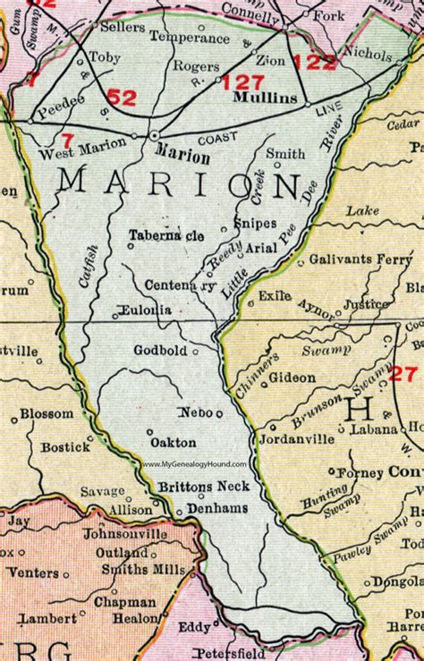 Marion County Sc Records Marion County South Carolina 1911 Map Rand Mcnally City Of Marion Mullins