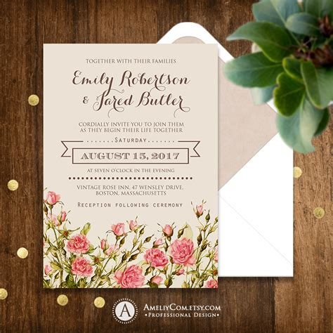 printable rustic wedding invitation pink roses shabby chic