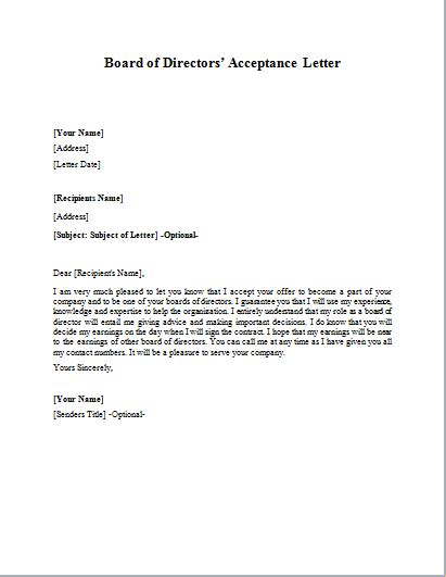 Acceptance Letter To Board Of Directors Formal Official And Professional Letter Templates Part 13