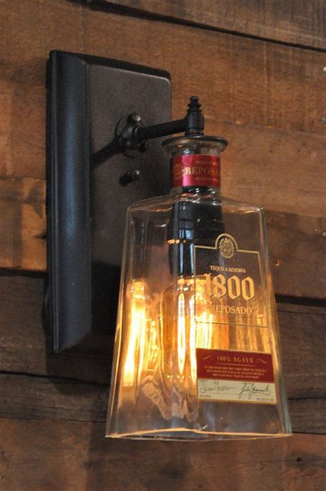 man cave light fixtures recycled bottle l wall sconce 1800 tequila bottle