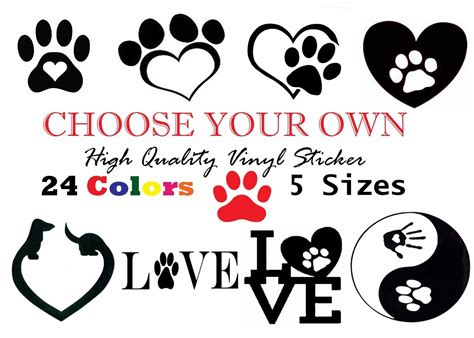 Choose Your Favorite Photo Print And Win by Your Own Pet Cat Paw Print Vinyl Sticker