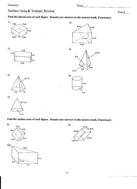 printable area quiz printable surface area quiz winterrowd math geometry b