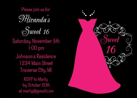 sweet 16 invitation templates free dress sweet 16 birthday invitations sweet