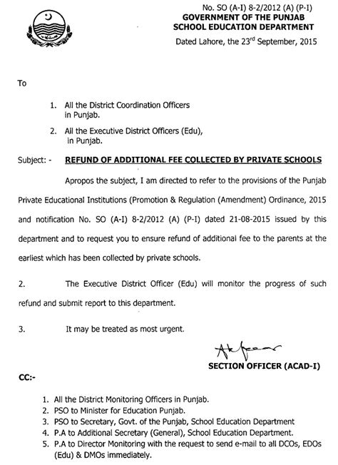 Financial Aid Notification Letter Refund Of Additional Fee Collected By Schools Punjab Govt Issued Notification Pakworkers