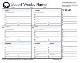 Student Daily Planner Template by Best 25 Homework Planner Printable Ideas On