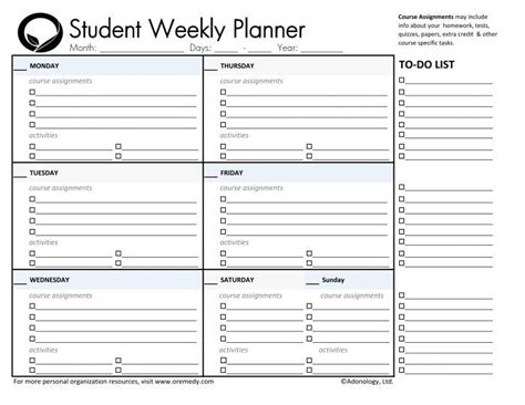 daily school planner template 25 best ideas about student planner printable on