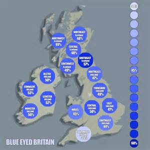 eye color distribution map of blue eyed britain as scientists suggest colour is