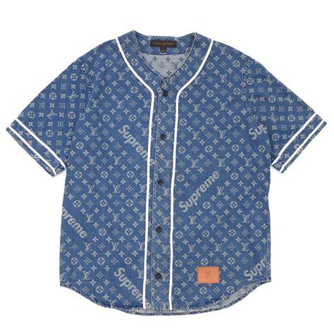 Baju Supreme X Lv 楽天市場 supreme シュプリーム x louis vuitton ルイ ヴィトン jacquard denim baseball jersey ベースボールシャツ indigo