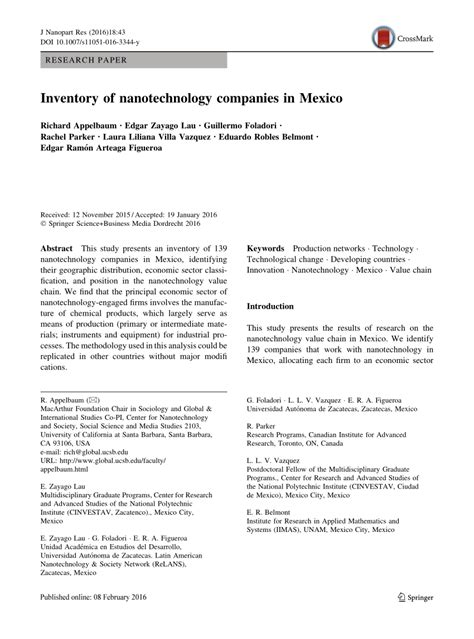 research paper on nanoparticles nanotechnology research paper