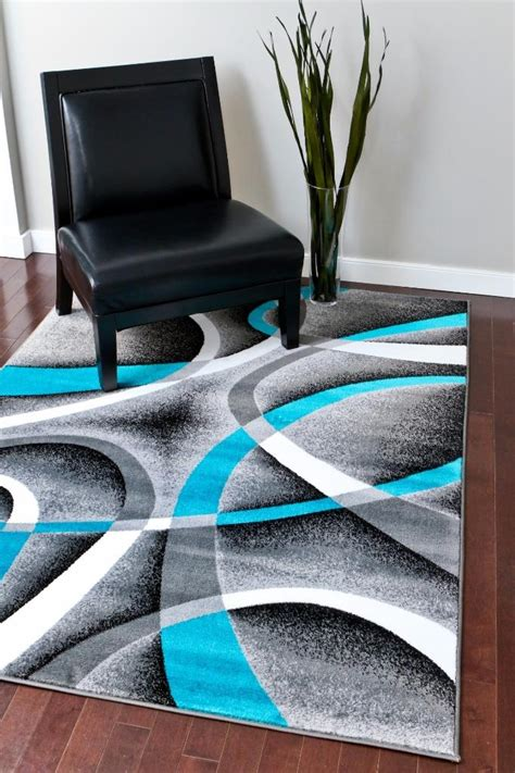turquoise and gray area rug 2305 turquoise gray black 5x7 8x11 area rug modern contemporary carpet ebay