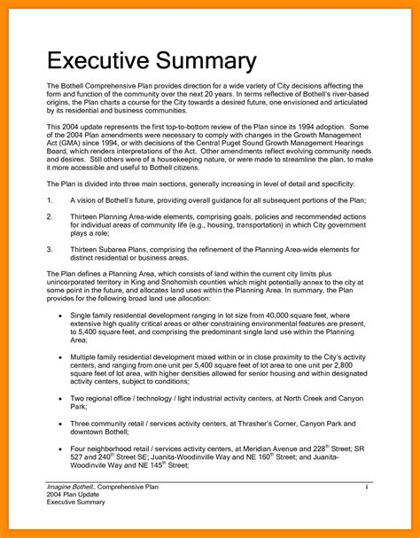 executive summary of a project report sle template executive summary sle template