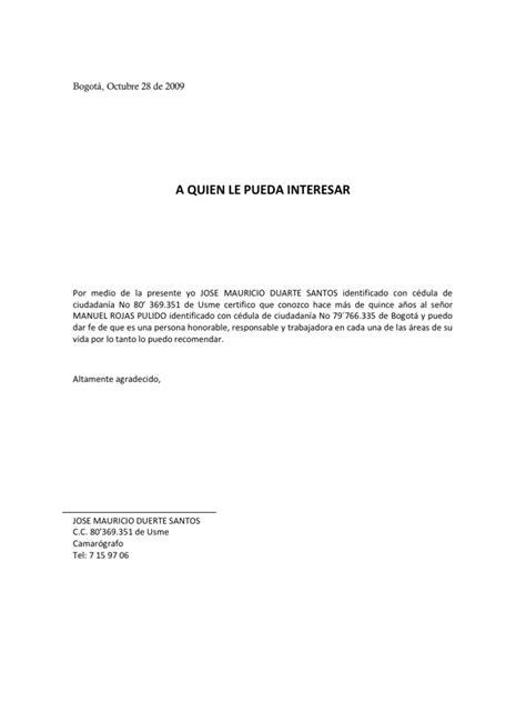 carta de referencia personal al banco recomendaciones personales