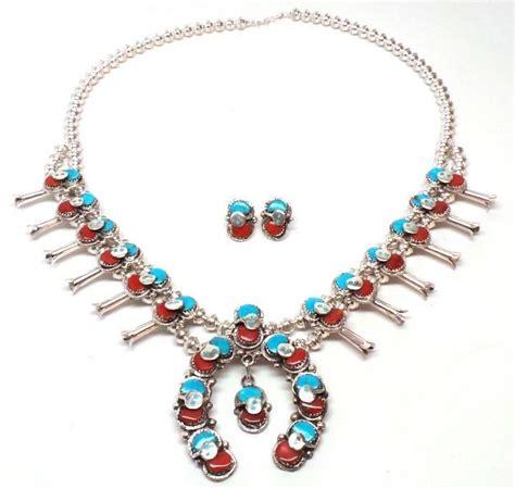 Zuni Squash Blossom Necklace Ebay Zuni Sterling Silver Turquoise Coral Squash Blossom Necklace Set Effie C Ebay