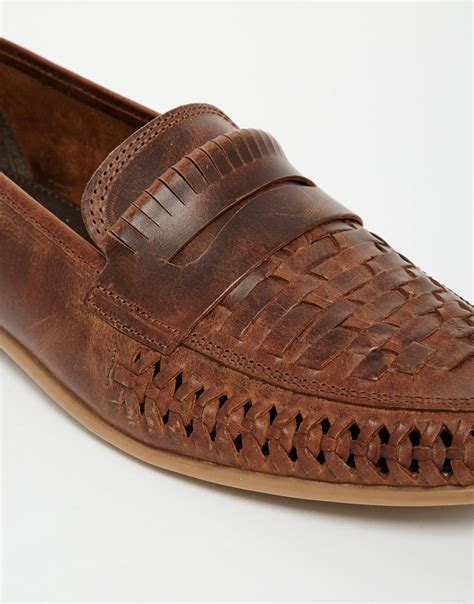 mens woven leather loafers lyst asos woven loafers in leather in brown for