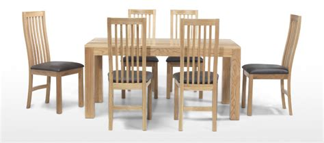 cube oak 160 cm dining table and 6 chairs quercus living