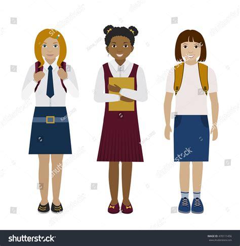 School Multiethnic Girls Different Uniform | school multiethnic girls different uniform isolated stock